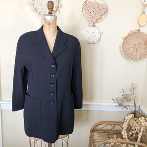 1980s Elements by Escada Navy Blue Wool Blazer 40